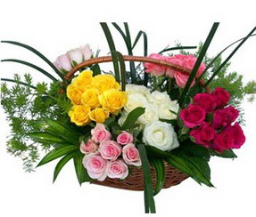 Çanakkale uluslararası çiçek gönderme  35 adet rengarenk güllerden sepet tanzimi