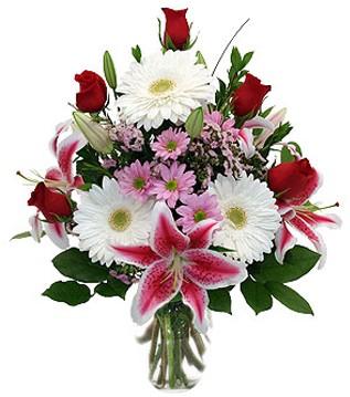 Çanakkale çiçek satışı  1 dal kazablanka 5 gül ve kırçiçeği vazosu