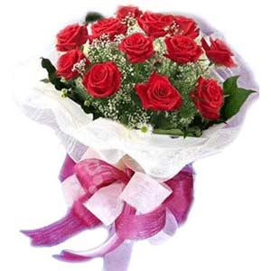 Çanakkale cicek , cicekci  11 adet kırmızı güllerden buket modeli