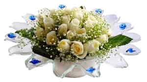 Çanakkale çiçek gönderme  11 adet Beyaz güller özel cam tanzim