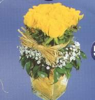 Çanakkale çiçek gönderme sitemiz güvenlidir  Cam vazoda 9 Sari gül