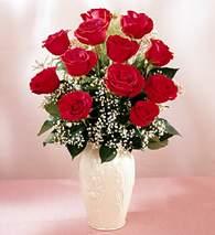 Çanakkale anneler günü çiçek yolla  9 adet vazoda özel tanzim kirmizi gül