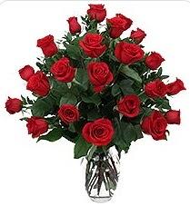 Çanakkale hediye sevgilime hediye çiçek  24 adet kırmızı gülden vazo tanzimi