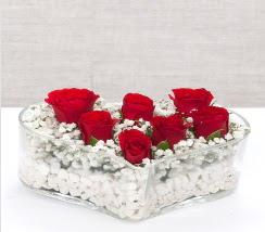 kalp içerisinde 7 adet kırmızı gül  Çanakkale kaliteli taze ve ucuz çiçekler