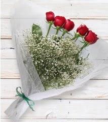 5 kırmızı gülden sade buket  Çanakkale internetten çiçek siparişi