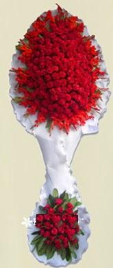 Çift katlı kıpkırmızı düğün açılış çiçeği  Çanakkale çiçek gönderme sitemiz güvenlidir