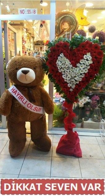 1.5 Metre peluş ayı ve Kalp  Çanakkale çiçekçiler