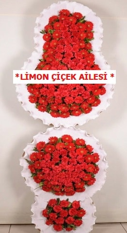 3 katlı kırmızı düğün açılış çiçeği  Çanakkale çiçek siparişi vermek