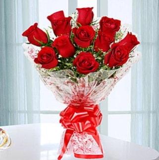 11 adet kırmızı gülden görsel şık buket  Çanakkale uluslararası çiçek gönderme