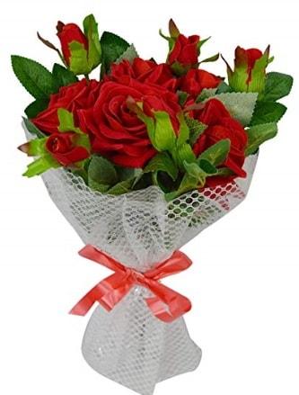 9 adet kırmızı gülden sade şık buket  Çanakkale online çiçek gönderme sipariş