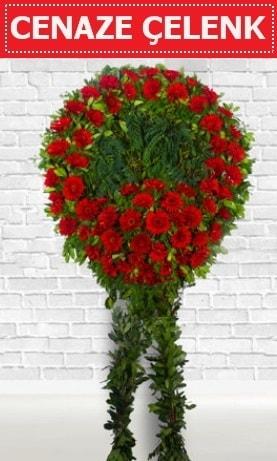 Kırmızı Çelenk Cenaze çiçeği  Çanakkale internetten çiçek satışı