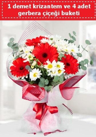 Krizantem ve Gerbera Buketi  Çanakkale hediye sevgilime hediye çiçek