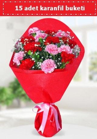 15 adet karanfilden hazırlanmış buket  Çanakkale online çiçekçi , çiçek siparişi