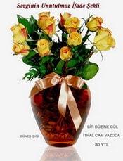 Çanakkale çiçek online çiçek siparişi  mika yada Cam vazoda 12 adet sari gül